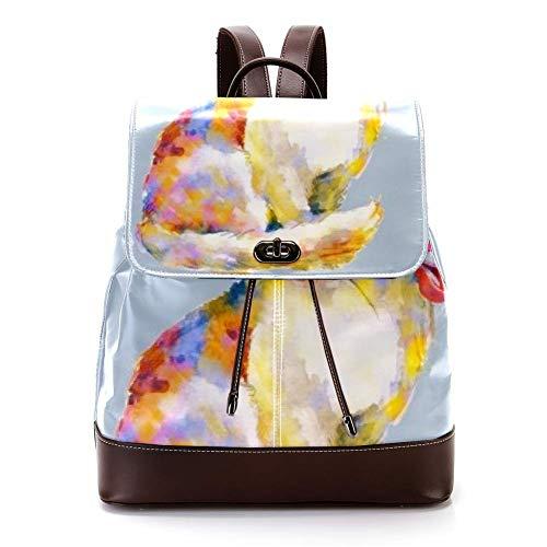 Lässiger PU Leder Rucksack für Männer, Damen Schultertasche Studenten Tagesrucksack für Reisen Business College Katzenbogen