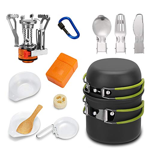 Mokoala Camping Cookware Mess Kit with Mini Stove,Lightweight Pot Bowl Knife Fork Spoon and Carabiner for Outdoor Camping Backpacking Hiking and Picnic………