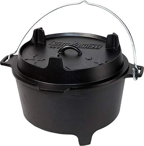 Grillfürst Dutch Oven BBQ Edition DO 9 (ca. 9 Liter) - Gusseisen Feuertopf - Kochtopf - Schmortopf - Gusseisentopf mit Standfüssen