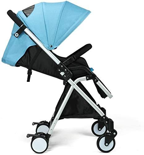 TGFVGHB Cochecito de bebé for el recién Nacido, bebé Cochecito Ligero Viajes Una Mano Veces a Partir del Nacimiento Completa Ajustable Buggy, 48x86x105cm (Color : Azul)