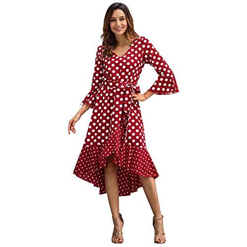 Caidi - Vestido de cóctel para Mujer, Vestido de Playa, Vestido de Noche, Vestido de Lunares de Verano, Bohemio, Largo y Bohemio, Estilo Informal, Color Rojo XL