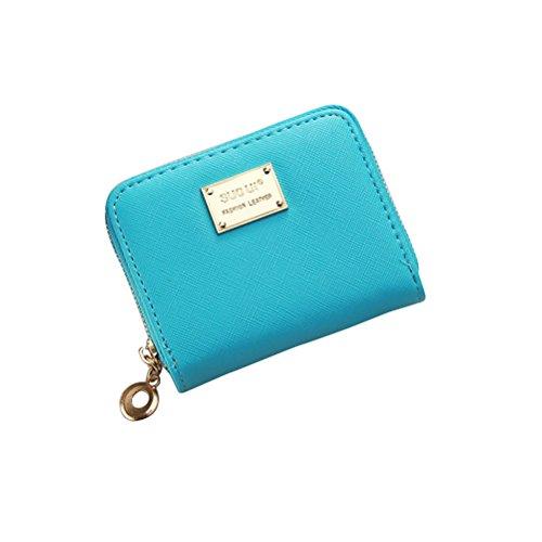 Tinksky Klein Portemonnaie mit Reißverschluss Damen Kleine Geldbeutel PU Leder Brieftasche für Frauen Mädchen (Himmelblau)