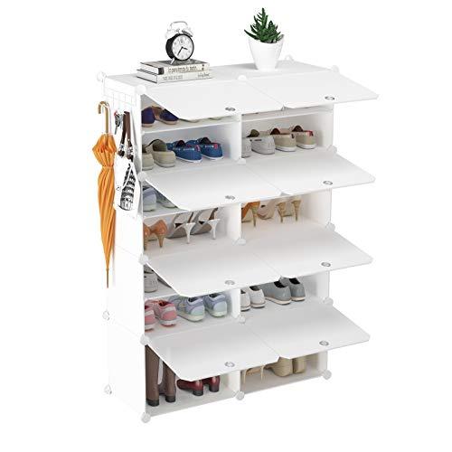 HOMIDEC Schuhregal, 7-stufiger Schuhschrank Kunststoff-Schuhregale Organizer für Schrank Flur Schlafzimmer Eingang
