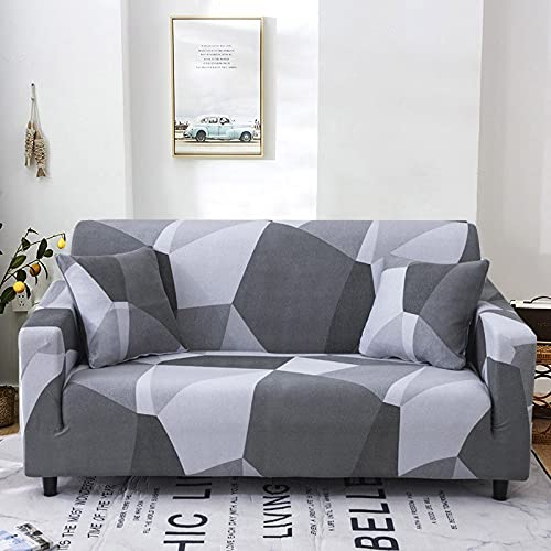 WXQY Funda de sofá geométrica Floral para Sala de Estar Funda de sofá elástica en Forma de L Funda de sillón de Esquina Funda de sofá Funda de Muebles A10 2 plazas