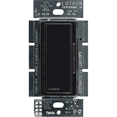 Lutron Maestro LED+ Dimmer for Dimmable LED, Halogen and Incandesent Bulbs | Single-Pole or Multi-Location | MACL-153M-BL | Black