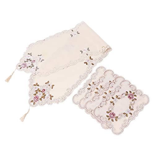 Dciustfhe Juego de 5 manteles bordados, estilo europeo, camino de mesa, mantel para reuniones familiares, decoración de mesa, armario de televisión, tela protectora