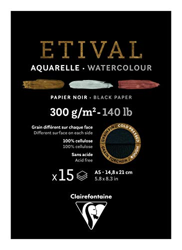 Clairefontaine 975317C - Bloque encolado 1 lado papel acuarela Etival 15 hojas negras 14, 8 x 21 cm, 300 g, doble grano (doble grano fino y reverso, grano torchón)