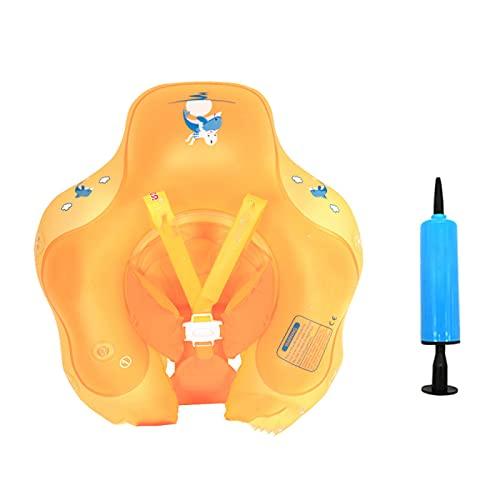 Flotador Inflable para Nadar para Bebés Bebé Recién Nacido Aprende a Nadar Entrenador Inflable Asiento Seguro Anillo de Cintura para Niños Flotadores Inflables,Orange-S