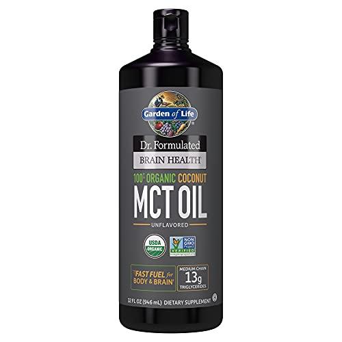 Garden of Life Dr. Formulated Brain Health 100% Organic Coconut MCT Oil, Keto & Paleo Diet Friendly Body & Brain Fuel, Certified Non-GMO, Vegan & Gluten & Hexane Free, 32 Fl Oz