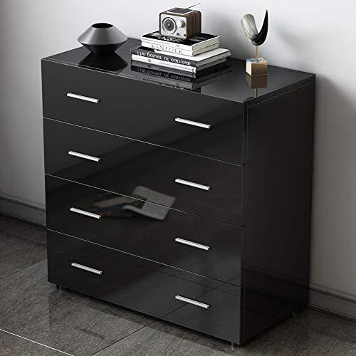 EBTOOLS ladekast, zwart/wit ladekast, dressoir, dressoir met 4 schuifladen voor slaapkamer, woonkamer, badkamer zwart