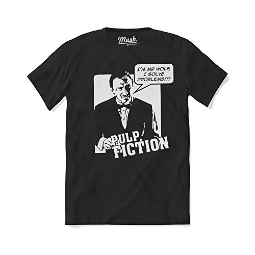 Mush dressyourstyle T-Shirt Mr Wolf I Solve Problems Pulp Fiction Uomo - Movies Cult - Maglietta a Manica Corta 100% Cotone Organico - S