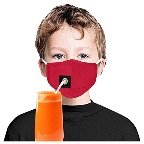 Hapae Kids Washable Face Protect Cover with Hole,Safety Reusable Face Cloth for Drinkng Breathable Face Cover Dustproof