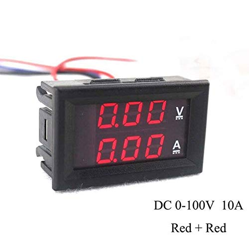 Purchase BoMiVa - DC 0-100V 10A 3/4 Bit Voltmeter Ammeter Red Blue LED Amp Wires New