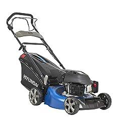 HYUNDAI bensin gräsklippare, bensin klippare med hjuldrift / självdrift, mulcher / gräsklippare med mulch funktion, 46cm skärbredd och 3,5 hk Hyundai motor (LM4602G utan E-start)