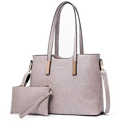 Purses and Handbags for Women Leather Designer Tote Large Fashion Ladies Shoulder Bags with Inner Pouch 2Pcs Set Grey