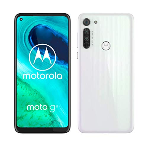 Motorola Moto G8, Tripla Fotocamera 16 MP, Processore Octa-Core Qualcomm Snapdragon 665, Batteria 4000 mAh, Display MaxVision HD+ 6.4', Dual SIM, 4/64GB Espandibile, Android 10, White