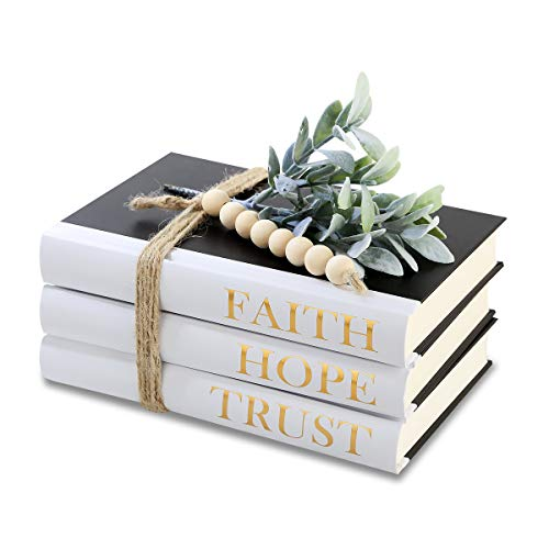 Decorative Hardcover Quote Books,Black and White Decoration Books, Farmhouse Stacked Books ,HOPE | FAITH | TRUST (Set of 3) Stacked Books for Decorating Coffee Tables and Bookshelf