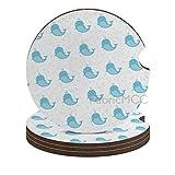 Whale Sea Criaturas Burbujas Natación Animal Print sobre fondo liso, Almohadilla de soporte de coche de color pálido, posavasos de madera para bebidas, posavasos de copa