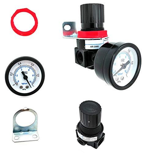 Her Kindness Druckluftminderer,Druckschalter Regelventil,Druckminderer mit Manometer AR2000 für Luftverdichter(G 1/4