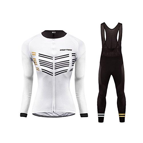 Uglyfrog Damen Langarm Radsport Jersey Road Bike MTB Top + Lange Hose mit Gel PAD Langarm Winter with Fleece Bike Set