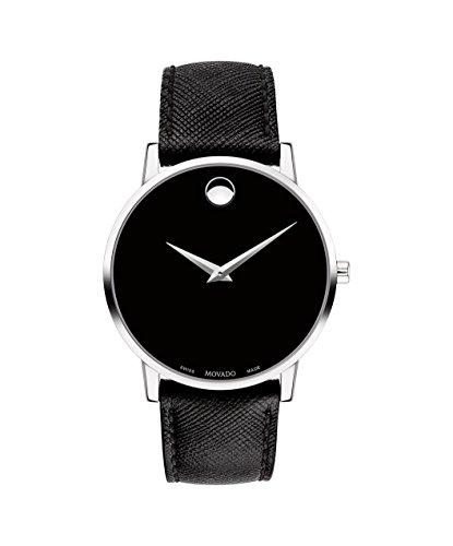 Movado Museum 0607194 - Reloj para hombre, esfera negra clásica, piel negra