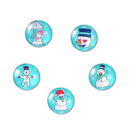 Angoily 5Pcs Imanes de Nevera de Navidad Etiqueta Engomada del Refrigerador de Vidrio Redondo Decoraciones de Nevera de Navidad Favores de Fiesta de Navidad de Vacaciones Llenos de Bolsas