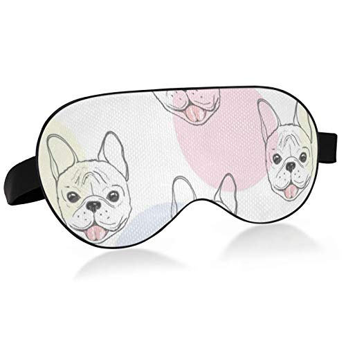 WENXOUAL Lunch Break/Night Blindfold, 100% Blackout Eye mask, Cute French Bulldog Polka Dotadjustable Night Soft Sleep Goggles, Comfortable Soft Blindfold Suitable for Children, Girls and Adults.