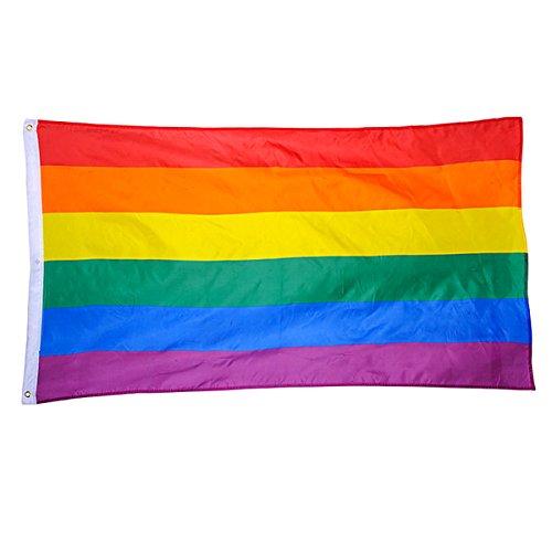 BESTOYARD Regenbogen Flagge Fahne Homosexuell Rainbow Flag 90x150cm