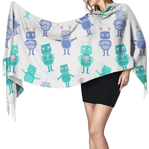 Cashmere Feel Shawl Wraps Robot Fashion Large Scarf For Women Winter Warm Soft Scarves Blanket