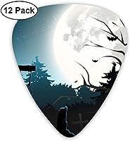 ハロウィーン墓地墓石ティールブラックブルーウルトラライト0.46ミディアム0.73ヘビー0.96mmプリントラウンドフラットソフトプラスチックジャズエレクトリックアコースティックベースギターピックアクセサリーバラエティパック
