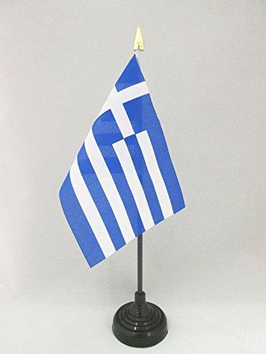 AZ FLAG TISCHFLAGGE GRIECHENLAND 15x10cm goldene splitze - GRIECHISCHE TISCHFAHNE 10 x 15 cm - flaggen