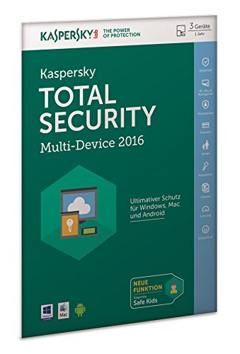 Kaspersky Lab Total Security Multi-Device 2016 - antivirus security software (Windows 10 Education, Windows 10 Education x64, Windows 10 Enterprise, Windows 10 Enterprise x64, Wi, Mac OS X 10.10 Yosemite, Mac OS X 10.8 Mountain Lion, Mac OS X 10.9 Mavericks, DEU, Multi, DE, Base license)