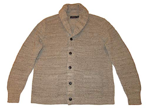 Ralph Lauren Polo Mens Cotton Shawl Collar Cardigan Sweater (Large, Cream)