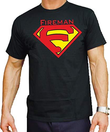 feuer1 'T-Shirt Black Fireman au Lieu de Superman XL Noir