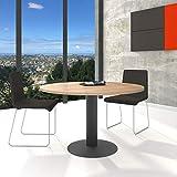 Optima runder Besprechungstisch Ø 120 cm Bernstein-Eiche Anthrazites Gestell Tisch Esstisch