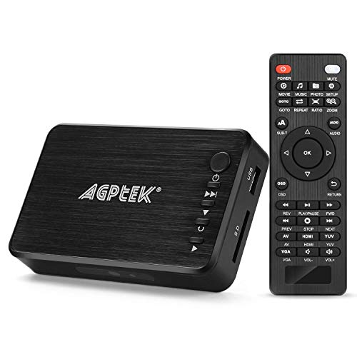 AGPTEK Media Player HDMI VGA Video Player USB OTG SD AV TV AVI RMVB