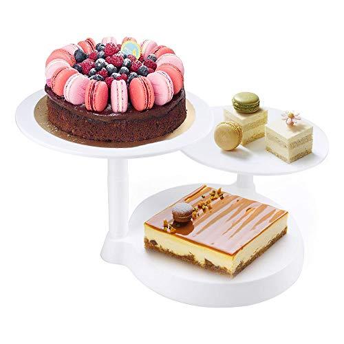 himaly Tortenständer Keks Obst 3 Ebenen Kunststoff Plattenspieler Tablett Dekoration und Präsentation für Hochzeitstorte/Jubiläum Weiß