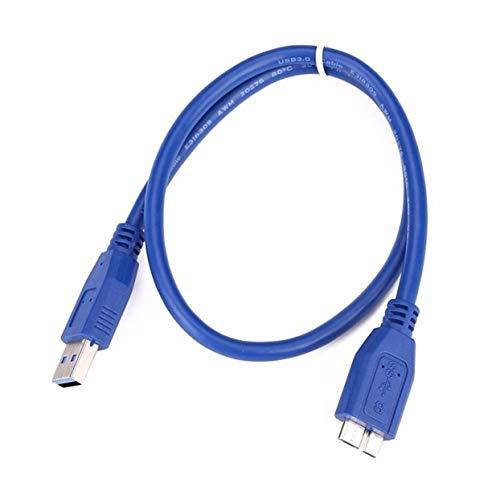 Fantasyworld Cable USB 3.0 A a Micro B para el Disco Duro Externo WD Seagate Samsung Importa Cable Micro USB en Azul 1 Metro - Azul