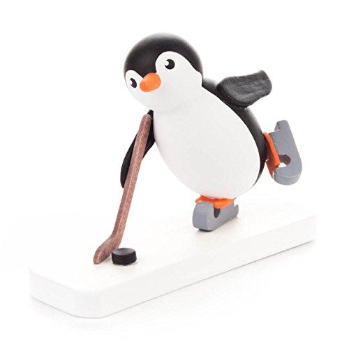 Pinguin Eishockeyspieler, Figur aus Holz, von DREGENO SEIFFEN – Original erzgebirgische Handarbeit, stimmungsvolle Dekoration