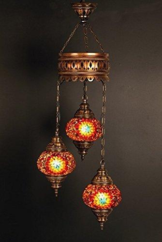 Lámparas, Lámparas de techo, Lámparas turcas, Colgantes de mosaico, Colgante, Cristal rojo, Vidrio de color, Linterna marroquí, 3 bombillas, Envío exprés