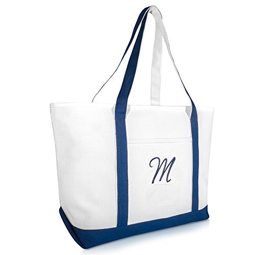 DALIX Quality Canvas Tote Bags Large Beach Bags Navy Blue Monogrammed M