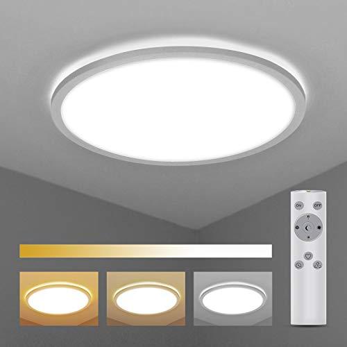 LED Deckenleuchte Dimmbar mit Fernbedienung, BIGHOUSE 18W 1600lm Deckenlampe 2700K-6500K, IP44 Wasserfest für Badezimmer, Wohnzimmer, Balkon, Flur Küche, Ø295×25mm