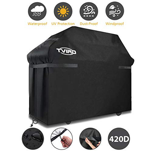 BBQ Grill Cover, Tvird Gas Grill Covers | 58-inch Heavy Duty Waterproof BBQ Cover | Fits Grills for Weber Char-Broil Nexgrill Brinkmann, Windproof, Rip-Proof, Weather & UV Resistant with Storage Bag Covers Grill