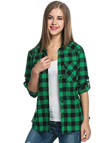 UNibelle Kariertes Hemd Damen Langarm Karohemd Bluse Damen Baumwolle mit Einstellbare Ärmeln(Grün,S)