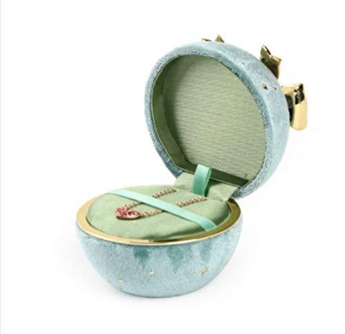 Caja de joyería redonda Caja de joyería de pana Gypsophila Caja de embalaje de joyería con lazo Joyas Cumpleaños Aniversario Propuesta Regalo del día de San Valentín-Verde_Colgante