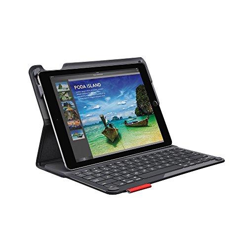 Logitech Type+ iPad Air 2 Hülle mit Kabelloser Tastatur, Bluetooth, USB-Anschluss, iOS-Sondertasten, 3-Monate Akkuleistung, Leichtgewicht, Englisches QWERTY-Layout - schwarz