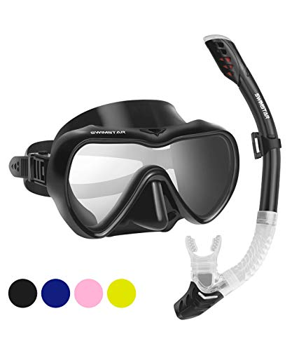 SwimStar Snorkel Set for Women and Men, Anti Fog Tempered Glass Snorkel Mask for Snorkeling, Swimming and Scuba Diving, Anti Leak Dry Top Snorkel Gear Panoramic Silicone Goggle No Leak Black