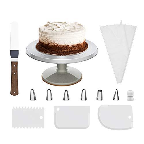 Goutime Tortenständer Drehbar 30 cm Aluminium Tortenplatte mit 1 Stück Winkelpalette Set, 3 Stück Icing Smoother (30x13)