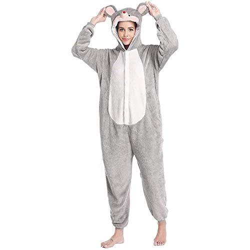 Uymkjv Pijamas para Adultos, Mono Unisex de Franela Casual con Capucha de ratn Animal, Pijamas Todo en uno, Disfraces de rol