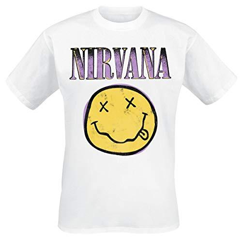 Nirvana Smiley White Hombre Camiseta Blanco S, 100% algodón, Regular